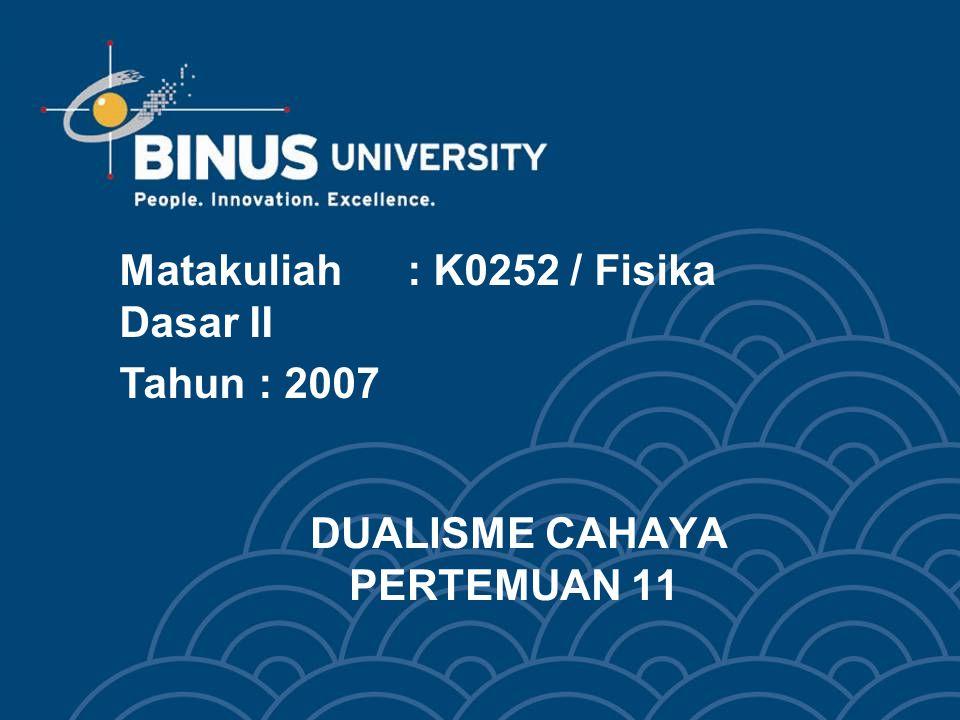 DUALISME CAHAYA PERTEMUAN 11 Matakuliah: K0252 / Fisika Dasar II Tahun: 2007