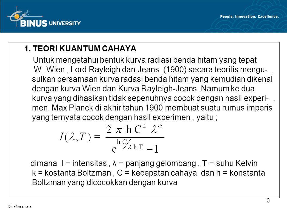 Bina Nusantara 1. TEORI KUANTUM CAHAYA Untuk mengetahui bentuk kurva radiasi benda hitam yang tepat. W..Wien, Lord Rayleigh dan Jeans (1900) secara te