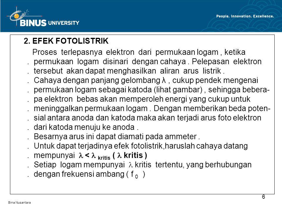 Bina Nusantara 2. EFEK FOTOLISTRIK Proses terlepasnya elektron dari permukaan logam, ketika. permukaan logam disinari dengan cahaya. Pelepasan elektro