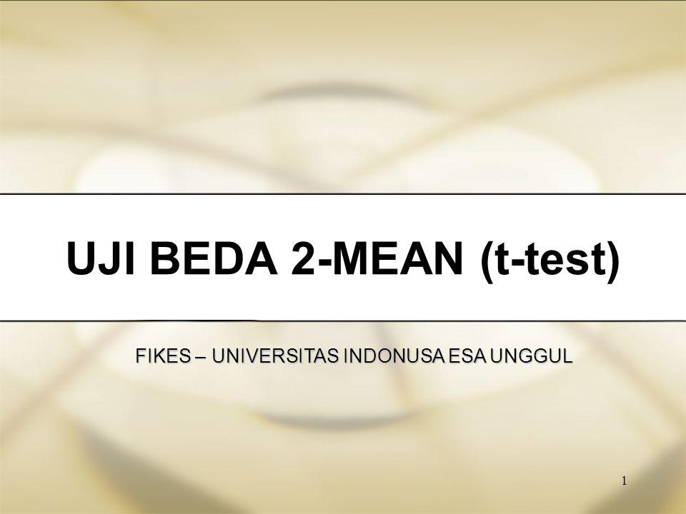 2 UJI - T (t-test) Independent t-test 1.Varian Sama 2.Varian Tidak sama Dependent (paired) t-test