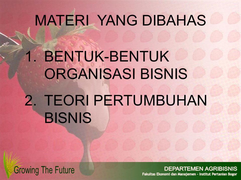 MATERI YANG DIBAHAS 1.BENTUK-BENTUK ORGANISASI BISNIS 2.TEORI PERTUMBUHAN BISNIS