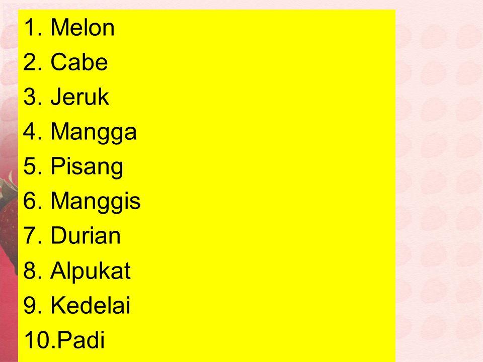1.Melon 2.Cabe 3.Jeruk 4.Mangga 5.Pisang 6.Manggis 7.Durian 8.Alpukat 9.Kedelai 10.Padi