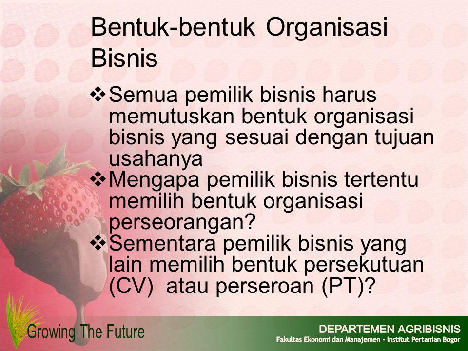 Bentuk-bentuk Organisasi Bisnis  Semua pemilik bisnis harus memutuskan bentuk organisasi bisnis yang sesuai dengan tujuan usahanya  Mengapa pemilik