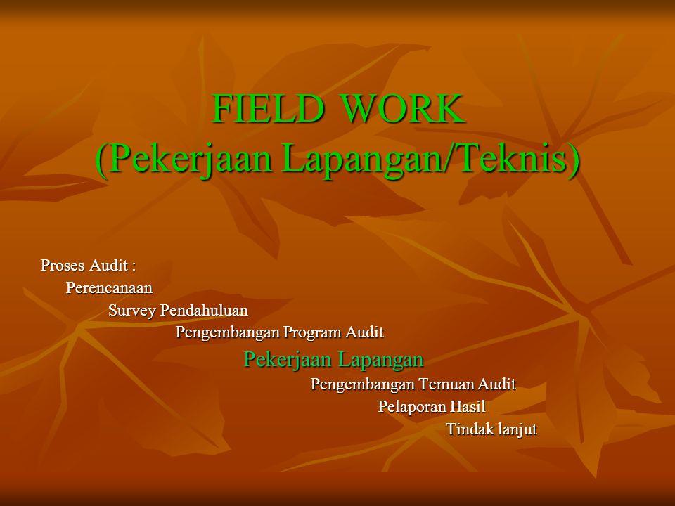 FIELD WORK (Pekerjaan Lapangan/Teknis) Proses Audit : Perencanaan Survey Pendahuluan Pengembangan Program Audit Pekerjaan Lapangan Pengembangan Temuan