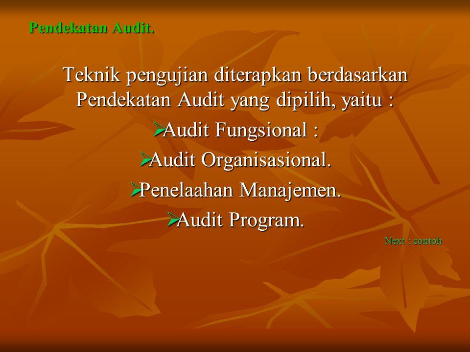 Pendekatan Audit. Teknik pengujian diterapkan berdasarkan Pendekatan Audit yang dipilih, yaitu :  Audit Fungsional :  Audit Organisasional.  Penela