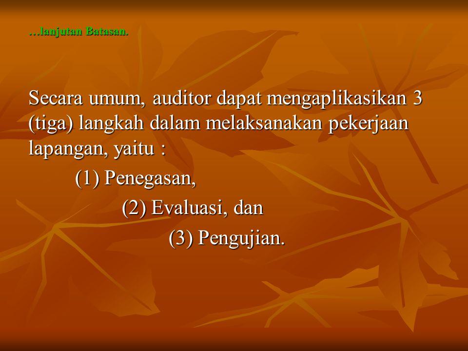 …lanjutan Batasan. Secara umum, auditor dapat mengaplikasikan 3 (tiga) langkah dalam melaksanakan pekerjaan lapangan, yaitu : (1) Penegasan, (2) Evalu