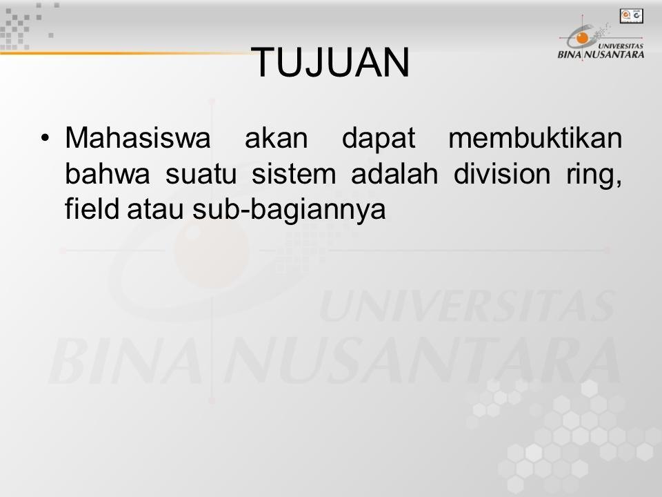 Cakupan –Division Ring –Sub Division Ring –Field –Sub Field