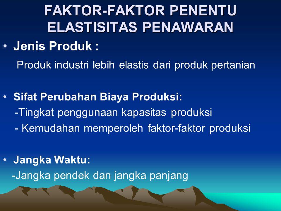 FAKTOR-FAKTOR PENENTU ELASTISITAS PENAWARAN Jenis Produk : Produk industri lebih elastis dari produk pertanian Sifat Perubahan Biaya Produksi: -Tingkat penggunaan kapasitas produksi - Kemudahan memperoleh faktor-faktor produksi Jangka Waktu: -Jangka pendek dan jangka panjang