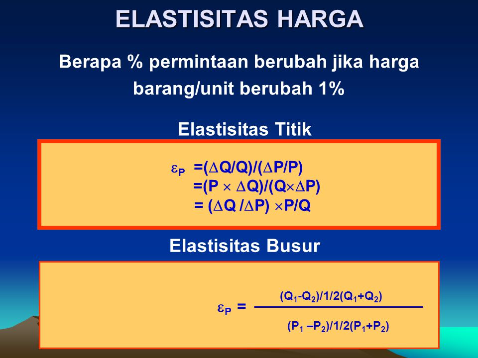 ELASTISITAS HARGA Berapa % permintaan berubah jika harga barang/unit berubah 1%  P =(  Q/Q)/(  P/P) =(P   Q)/(Q  P) = (  Q /  P)  P/Q  P =