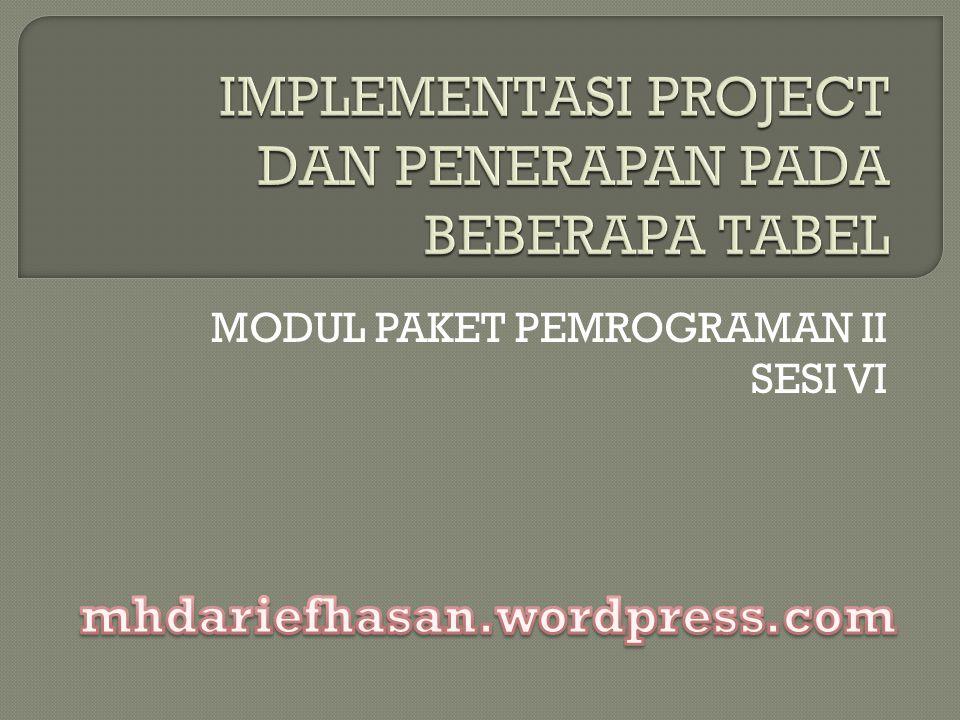 Project Manager atau Biasa disebut Project digunakan untuk mengorganisir dan mengatur file di dalam sebuah projek.