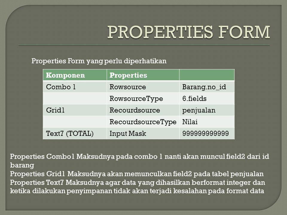 KomponenProperties Combo 1RowsourceBarang.no_id RowsourceType6.fields Grid1Recourdsourcepenjualan RecourdsourceTypeNilai Text7 (TOTAL)Input Mask999999999999 Properties Form yang perlu diperhatikan Properties Combo1 Maksudnya pada combo 1 nanti akan muncul field2 dari id barang Properties Grid1 Maksudnya akan memunculkan field2 pada tabel penjualan Properties Text7 Maksudnya agar data yang dihasilkan berformat integer dan ketika dilakukan penyimpanan tidak akan terjadi kesalahan pada format data