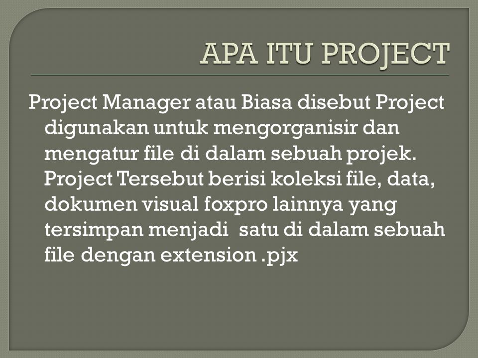 Project Manager atau Biasa disebut Project digunakan untuk mengorganisir dan mengatur file di dalam sebuah projek. Project Tersebut berisi koleksi fil