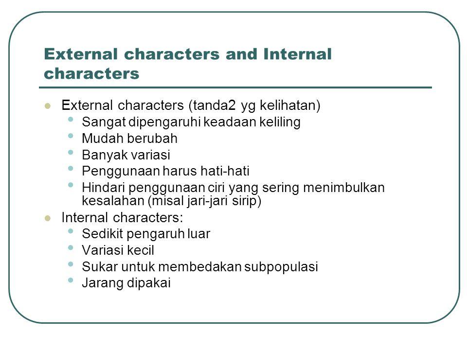 External characters and Internal characters External characters (tanda2 yg kelihatan) Sangat dipengaruhi keadaan keliling Mudah berubah Banyak variasi