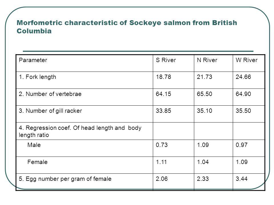 Morfometric characteristic of Sockeye salmon from British Columbia ParameterS RiverN RiverW River 1. Fork length18.7821.7324.66 2. Number of vertebrae