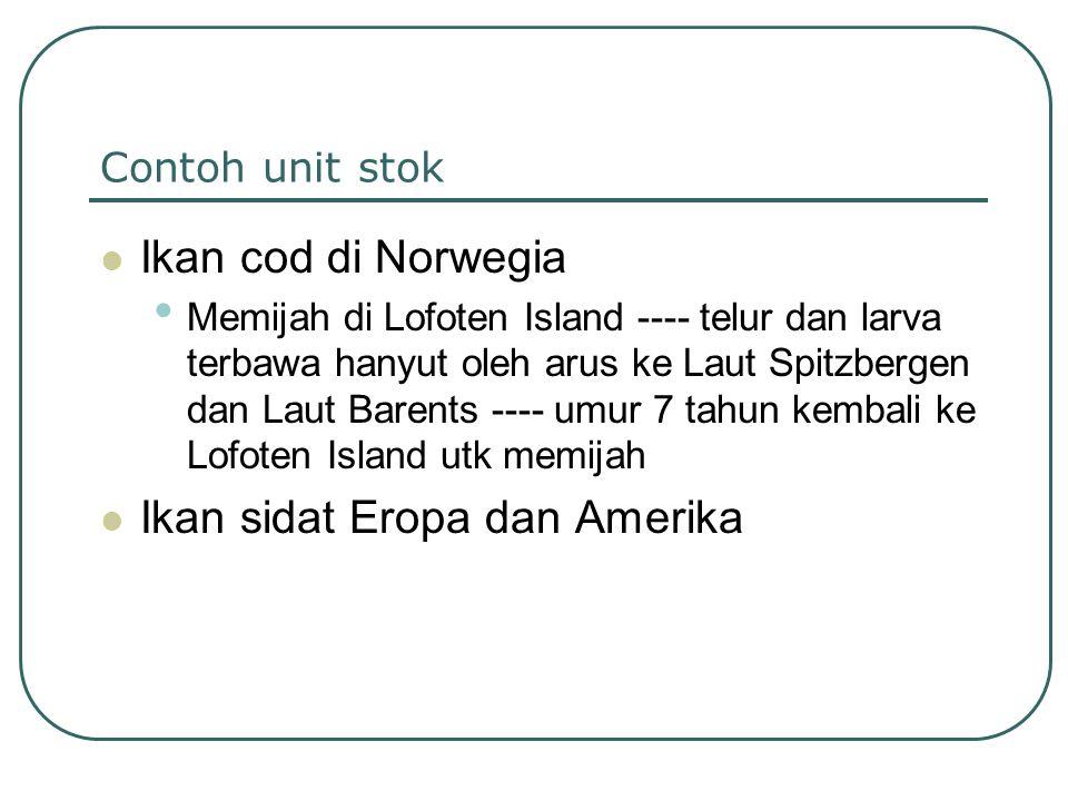 Contoh unit stok Ikan cod di Norwegia Memijah di Lofoten Island ---- telur dan larva terbawa hanyut oleh arus ke Laut Spitzbergen dan Laut Barents ---