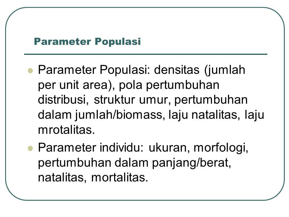 Parameter Populasi Parameter Populasi: densitas (jumlah per unit area), pola pertumbuhan distribusi, struktur umur, pertumbuhan dalam jumlah/biomass,
