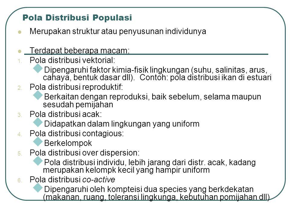 Pola Distribusi Populasi Merupakan struktur atau penyusunan individunya Terdapat beberapa macam: 1. Pola distribusi vektorial:  Dipengaruhi faktor ki