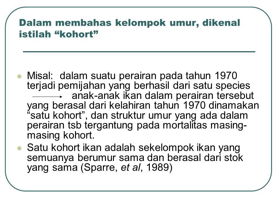 """Dalam membahas kelompok umur, dikenal istilah """"kohort"""" Misal: dalam suatu perairan pada tahun 1970 terjadi pemijahan yang berhasil dari satu species a"""