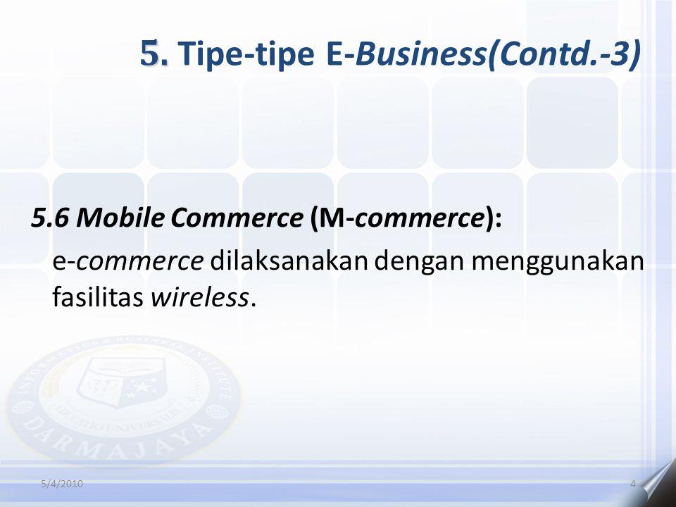 5. 5. Tipe-tipe E-Business(Contd.-3) 5.6 Mobile Commerce (M-commerce): e-commerce dilaksanakan dengan menggunakan fasilitas wireless. 5/4/20104