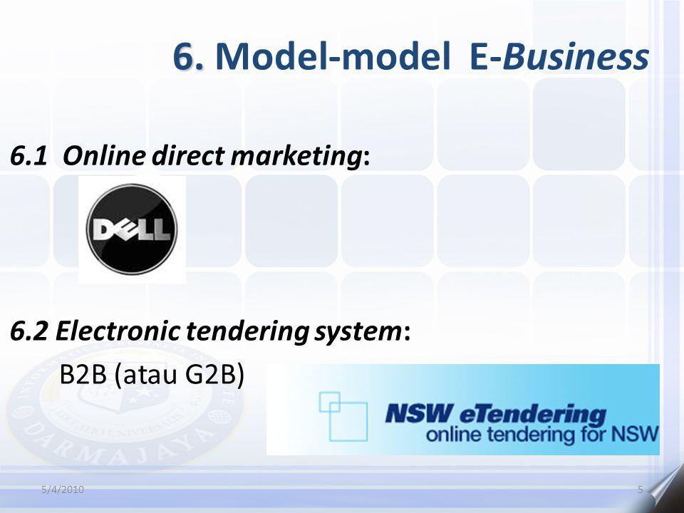6. 6. Model-model E-Business 6.1 Online direct marketing: 6.2 Electronic tendering system: B2B (atau G2B) 5/4/20105