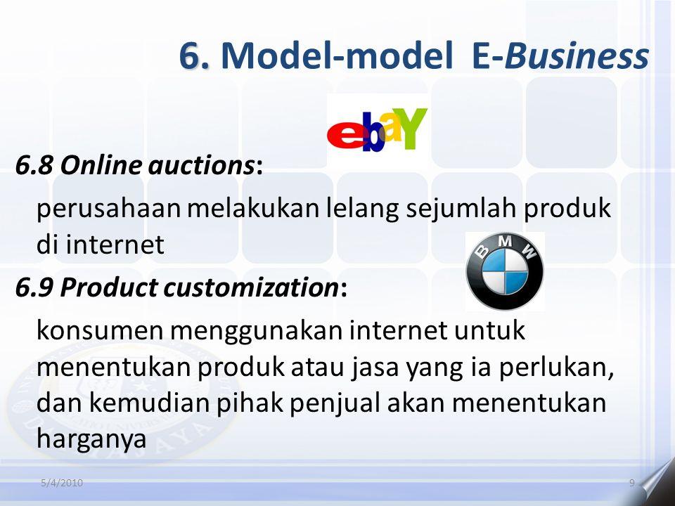 6. 6. Model-model E-Business 6.8 Online auctions: perusahaan melakukan lelang sejumlah produk di internet 6.9 Product customization: konsumen mengguna