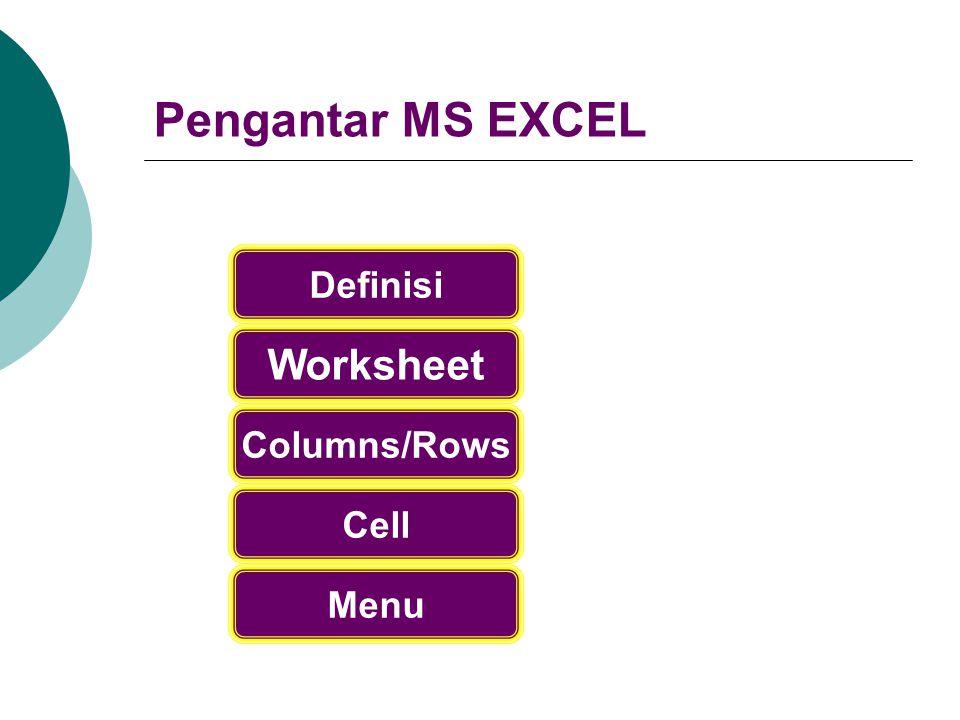 Pengantar MS EXCEL Worksheet Columns/Rows Menu Cell Definisi