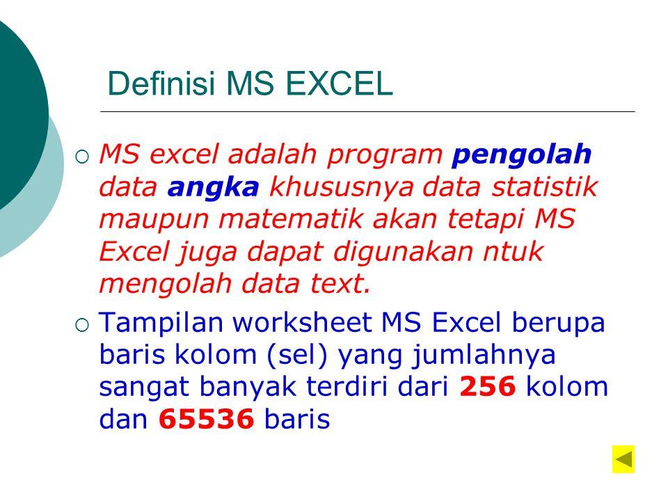 Definisi MS EXCEL  MS excel adalah program pengolah data angka khususnya data statistik maupun matematik akan tetapi MS Excel juga dapat digunakan ntuk mengolah data text.