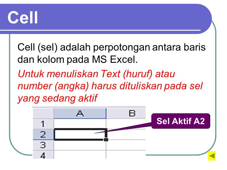 Cell Cell (sel) adalah perpotongan antara baris dan kolom pada MS Excel.