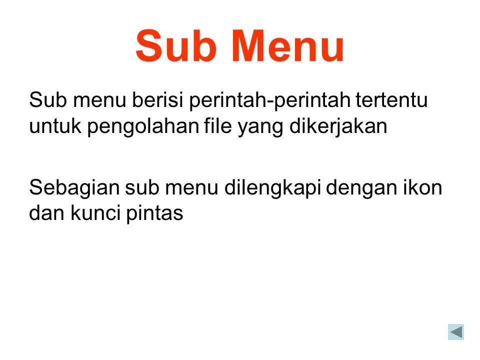 Sub Menu Sub menu berisi perintah-perintah tertentu untuk pengolahan file yang dikerjakan Sebagian sub menu dilengkapi dengan ikon dan kunci pintas