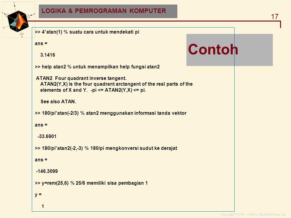 Copyright  1984 - 1998 by The MathWorks, Inc. 17 MATLAB and HDF-EOS Contoh >> 4*atan(1) % suatu cara untuk mendekati pi ans = 3.1416 >> help atan2 %
