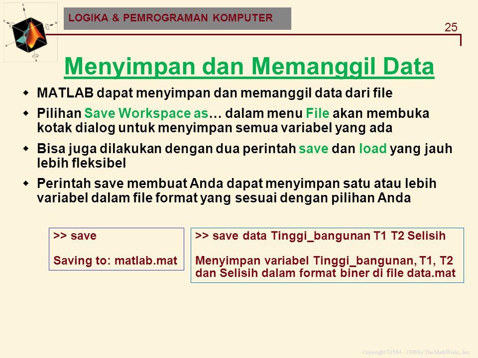 Copyright  1984 - 1998 by The MathWorks, Inc. 25 MATLAB and HDF-EOS Menyimpan dan Memanggil Data  MATLAB dapat menyimpan dan memanggil data dari fil