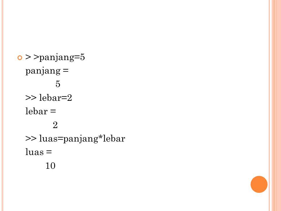 > >panjang=5 panjang = 5 >> lebar=2 lebar = 2 >> luas=panjang*lebar luas = 10