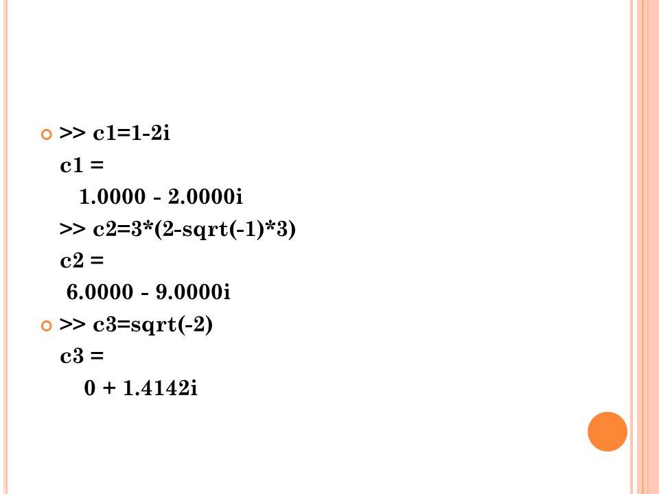 >> c1=1-2i c1 = 1.0000 - 2.0000i >> c2=3*(2-sqrt(-1)*3) c2 = 6.0000 - 9.0000i >> c3=sqrt(-2) c3 = 0 + 1.4142i