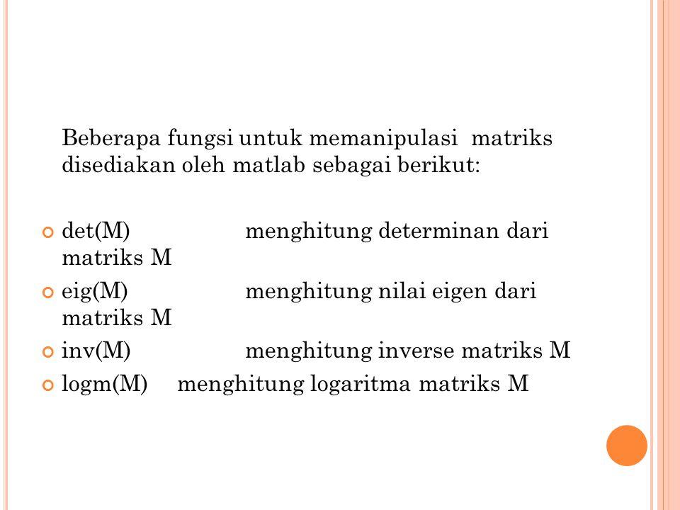 Beberapa fungsi untuk memanipulasi matriks disediakan oleh matlab sebagai berikut: det(M)menghitung determinan dari matriks M eig(M)menghitung nilai e