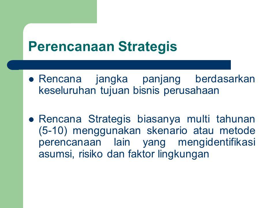 Perencanaan Strategis Rencana jangka panjang berdasarkan keseluruhan tujuan bisnis perusahaan Rencana Strategis biasanya multi tahunan (5-10) mengguna