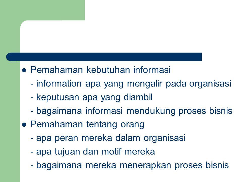 Pemahaman kebutuhan informasi - information apa yang mengalir pada organisasi - keputusan apa yang diambil - bagaimana informasi mendukung proses bisn