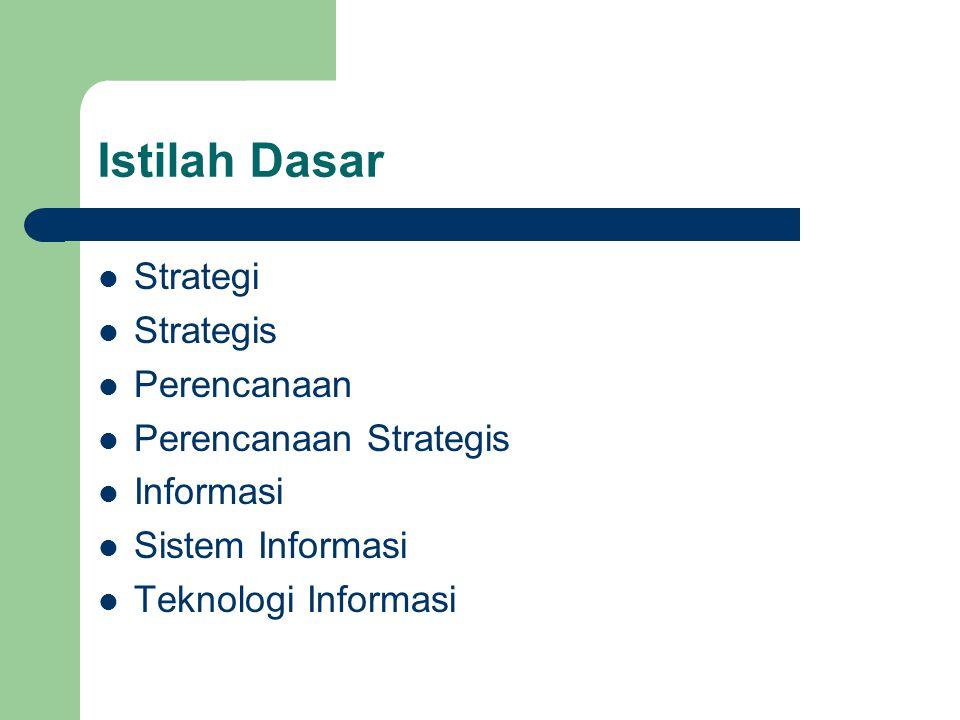 Strategi Rencana kegiatan yang sistematis dan berkembang Rencana jangka panjang untuk pencapaian suatu tujuan Strategi diperlukan untuk menghadapi persaingan dan perubahan pasar yang sangat cepat Competitive strategy adalah sesuatu hal yang menjadi beda dengan yang lain Inti dari strategi adalah pemilihan untuk melakukan tindakan yang berbeda dari lawan