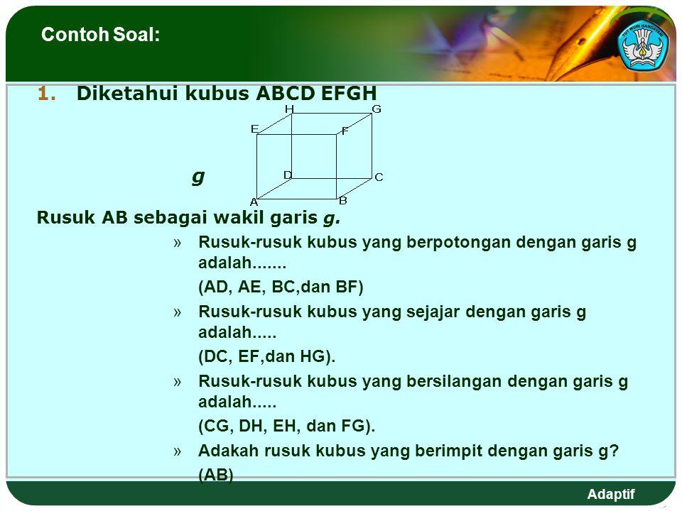 Adaptif Contoh Soal: 1.Diketahui kubus ABCD EFGH g Rusuk AB sebagai wakil garis g.