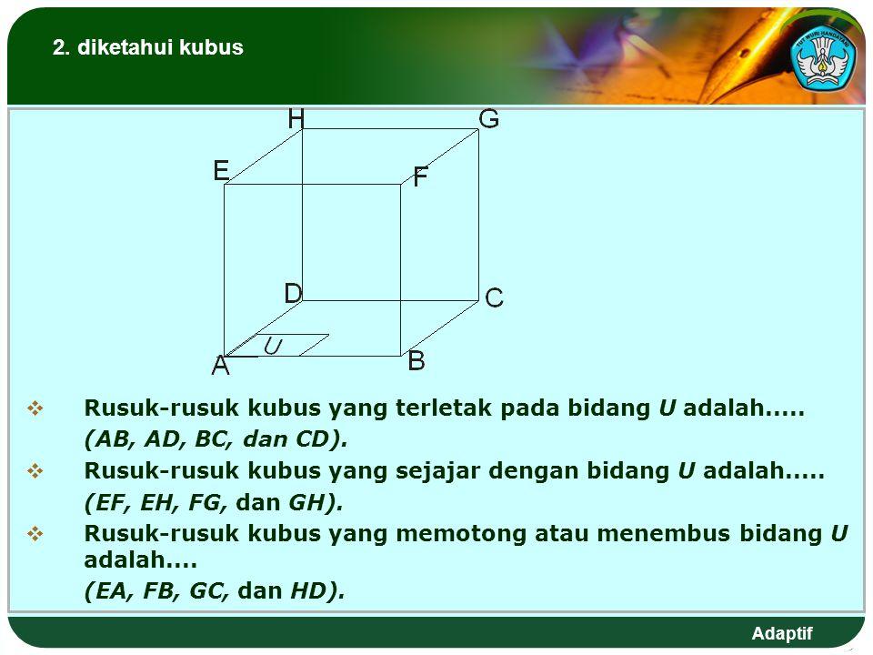 Adaptif 2.diketahui kubus  Rusuk-rusuk kubus yang terletak pada bidang U adalah.....