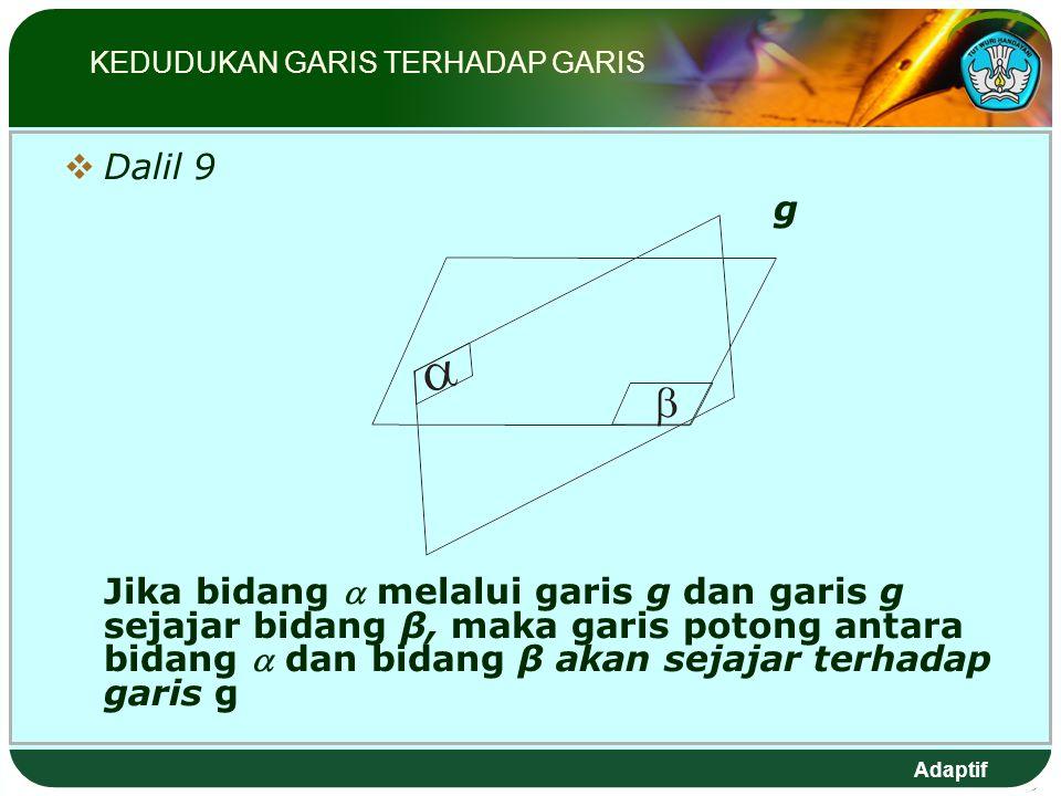 Adaptif  Dalil 9 g Jika bidang  melalui garis g dan garis g sejajar bidang β, maka garis potong antara bidang  dan bidang β akan sejajar terhadap garis g KEDUDUKAN GARIS TERHADAP GARIS