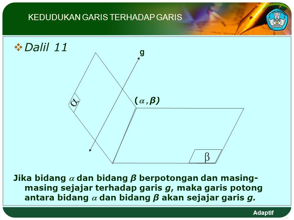 Adaptif  Dalil 11 Jika bidang  dan bidang β berpotongan dan masing- masing sejajar terhadap garis g, maka garis potong antara bidang  dan bidang β akan sejajar garis g.