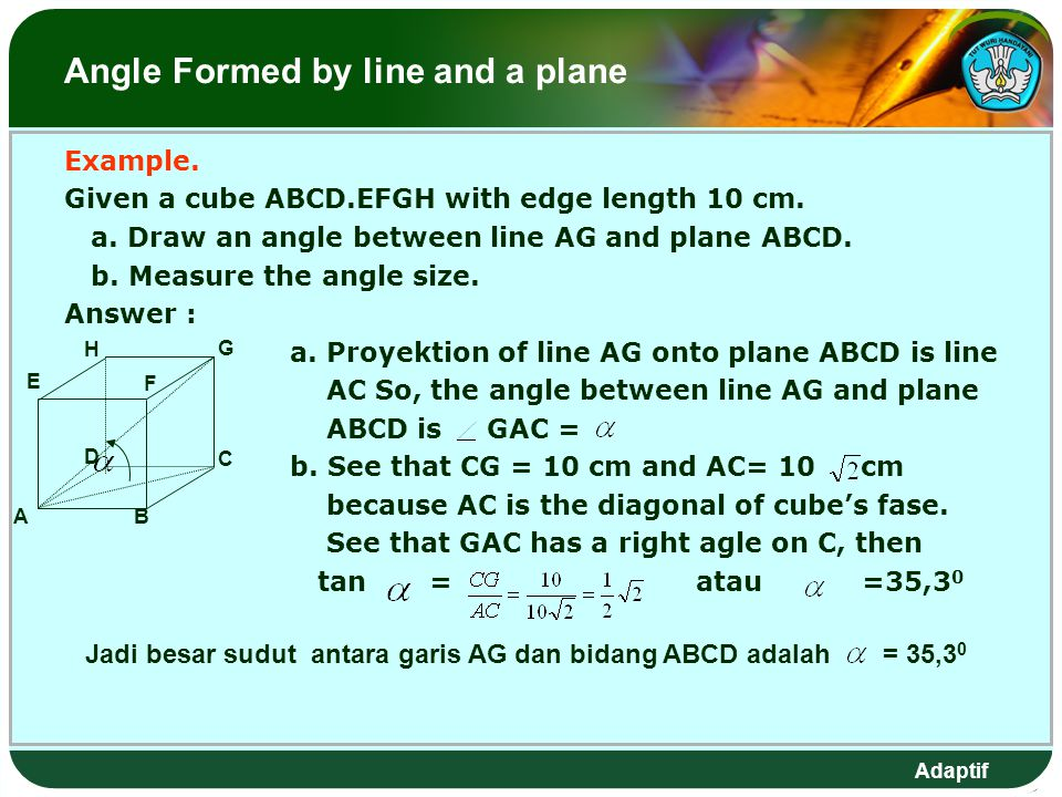 Adaptif Angle Formed by line and a plane Example.Given a cube ABCD.EFGH with edge length 10 cm.