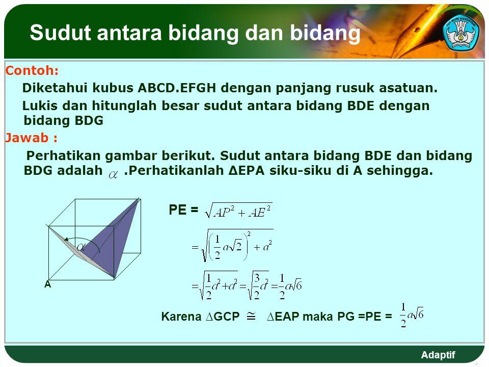 Adaptif Sudut antara bidang dan bidang Contoh: Diketahui kubus ABCD.EFGH dengan panjang rusuk asatuan.