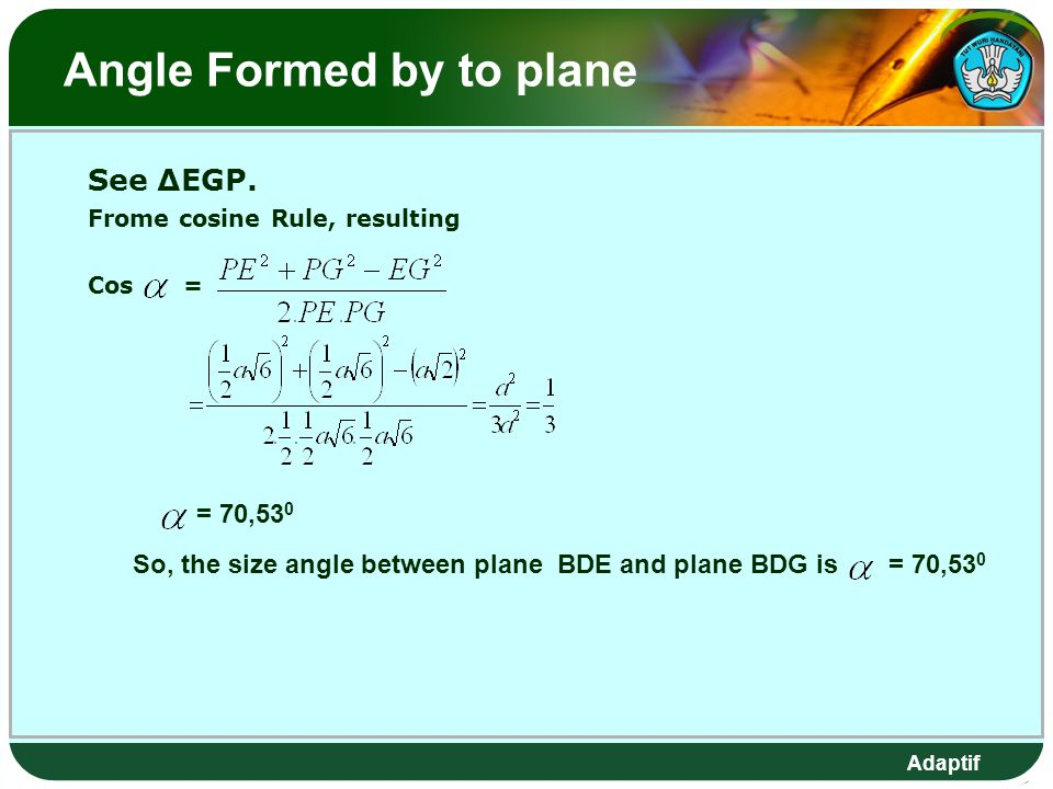 Adaptif Angle Formed by to plane See ∆EGP.