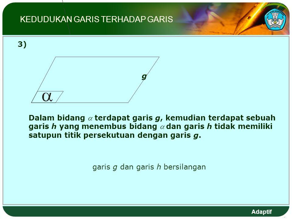 Adaptif 3) g Dalam bidang  terdapat garis g, kemudian terdapat sebuah garis h yang menembus bidang  dan garis h tidak memiliki satupun titik persekutuan dengan garis g.
