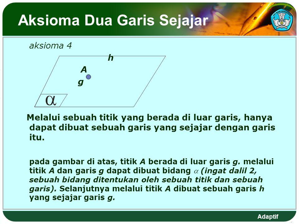 Adaptif Aksioma Dua Garis Sejajar aksioma 4 h A g Melalui sebuah titik yang berada di luar garis, hanya dapat dibuat sebuah garis yang sejajar dengan garis itu.