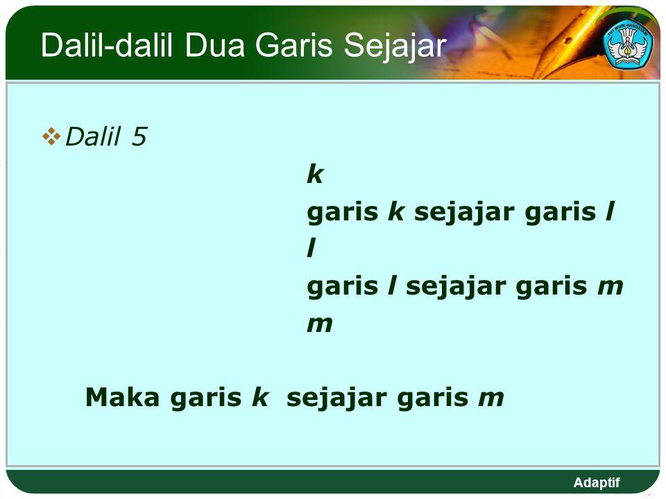 Adaptif Dalil-dalil Dua Garis Sejajar  Dalil 5 k garis k sejajar garis l l garis l sejajar garis m m Maka garis k sejajar garis m