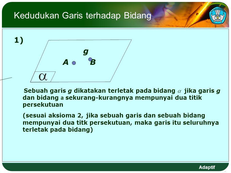 Adaptif Kedudukan Garis terhadap Bidang 1) g A B Sebuah garis g dikatakan terletak pada bidang  jika garis g dan bidang a sekurang-kurangnya mempunyai dua titik persekutuan (sesuai aksioma 2, jika sebuah garis dan sebuah bidang mempunyai dua titk persekutuan, maka garis itu seluruhnya terletak pada bidang)