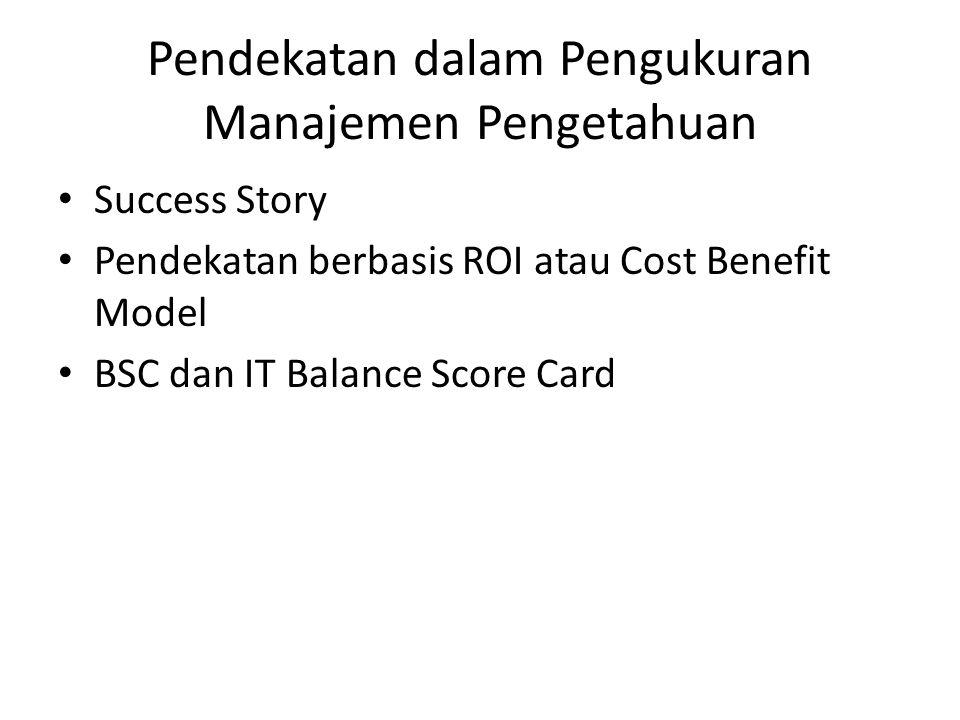 Pendekatan dalam Pengukuran Manajemen Pengetahuan Success Story Pendekatan berbasis ROI atau Cost Benefit Model BSC dan IT Balance Score Card