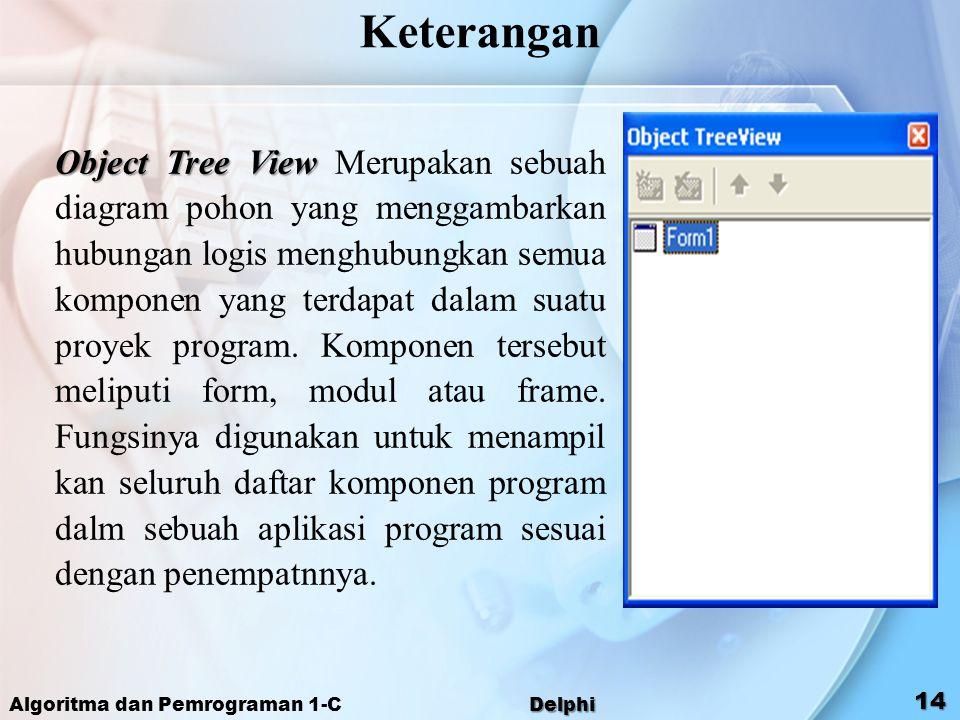 Object Tree View Object Tree View Merupakan sebuah diagram pohon yang menggambarkan hubungan logis menghubungkan semua komponen yang terdapat dalam su
